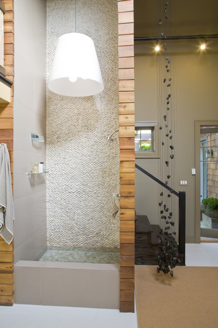 Two-story shower with recirculating fountain contemporary-bathroom