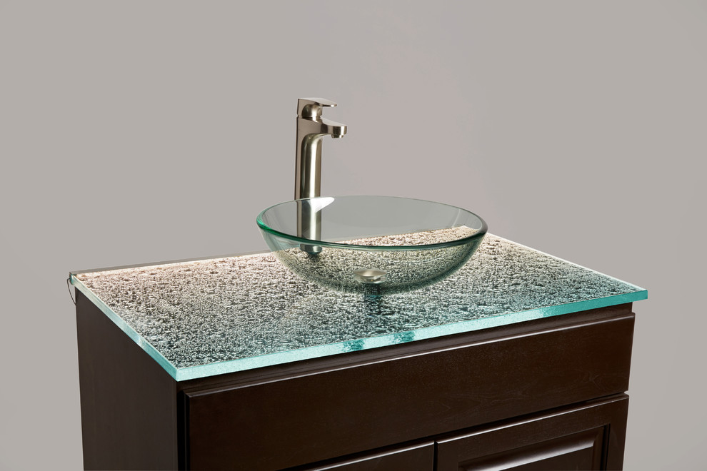 Ultra-clear cast glass countertop for a bathroom vanity ...