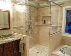 Uniquely Transitional Bathroom Remodel traditional-bathroom
