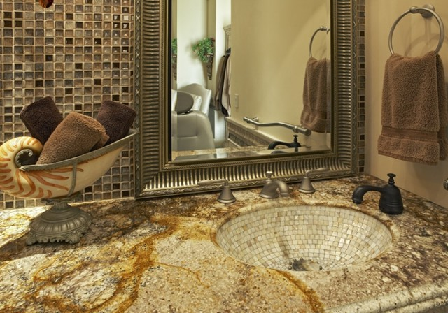 Vanity Luxury Master Bathroom Suite Mediterranean Bathroom
