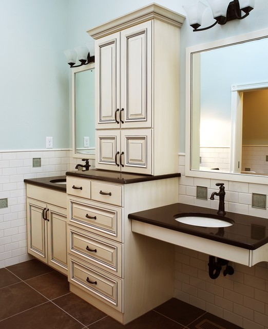 HighCraft Builders fireplace, cabinetry, vanity contemporary-bathroom