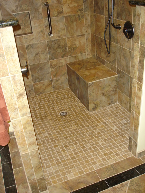 Universal Design Shower With Curbless Entry Transitional