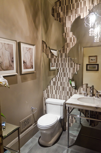 Upper Floor Powder Room by KCS Inc. eclectic-bathroom