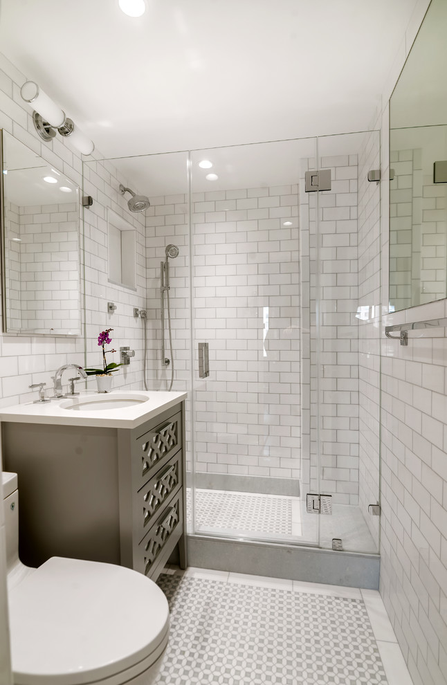 Small Bathroom With White Subway Tile Shower Image Of Bathroom And Closet
