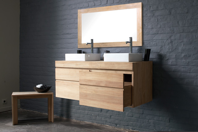 Line Art Bathroom : Urban by line art modern double vanity in solid teak