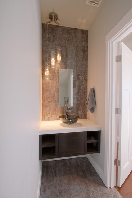 Urban Powder Room Bath With Floating Vanity Modern