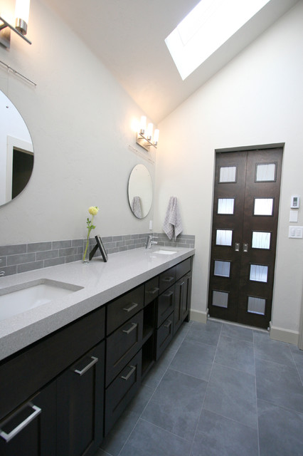 "Urban Townhome Master Bathroom w/custom ""Barn Door"" sliders modern-bathroom"