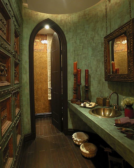 Bathroom - mediterranean bathroom idea in Other with a drop-in sink, green walls and green countertops