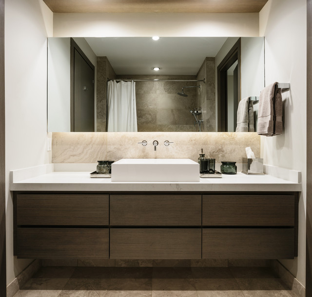Bathroom - mid-sized contemporary 3/4 beige tile and porcelain tile medium tone wood floor and gray floor bathroom idea in Vancouver with flat-panel cabinets, dark wood cabinets, a two-piece toilet, beige walls, a vessel sink, quartzite countertops and a hinged shower door