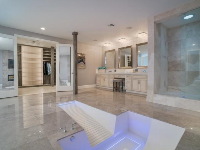Vanilla Ice Project   Custom Walk In Concrete Bathtub Transitional Bathroom