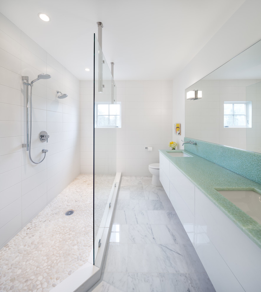 Double shower - contemporary double shower idea in Portland with turquoise countertops