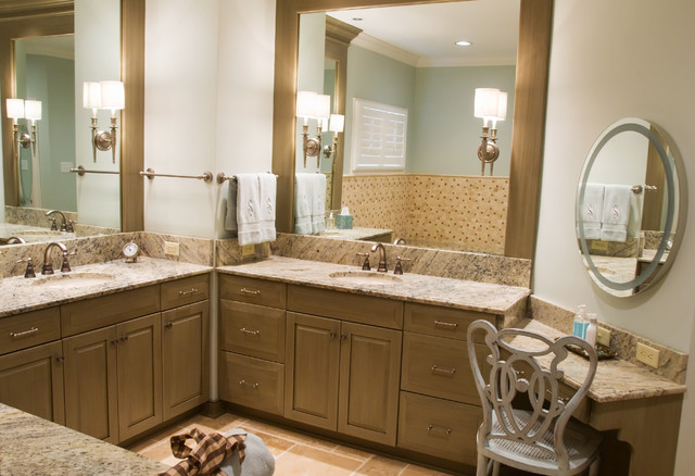 Amazing Double Sink Vanity With Make Up Area  Austin Bathroom Vanity Design