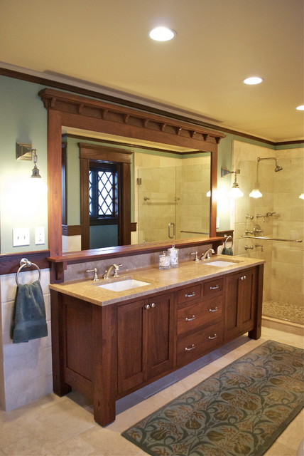 Vanity craftsman bathroom new york by carisa for Bungalow bathroom designs