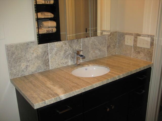 Travertine Stone Countertops : Vanity silver travertine traditional bathroom new