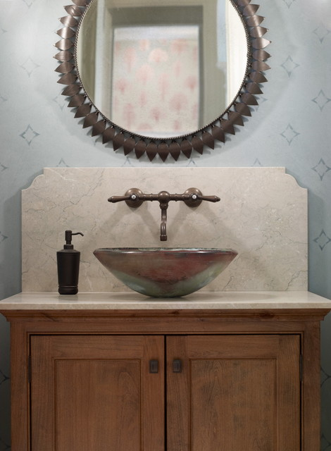 Inspiration for an eclectic bathroom remodel in New York with a vessel sink