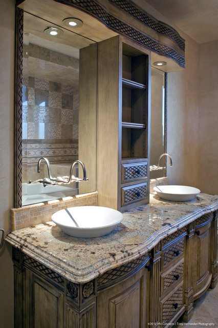 Old world european residence traditional bathroom for Old world bathroom designs