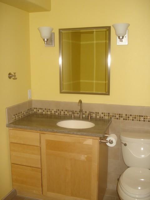 Vanity with custom tile traditional-bathroom
