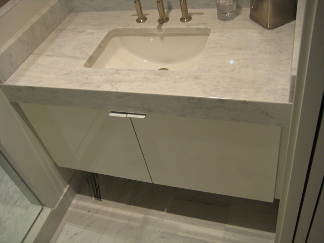 Vanity With Mitered Apron Front Carrera Marble