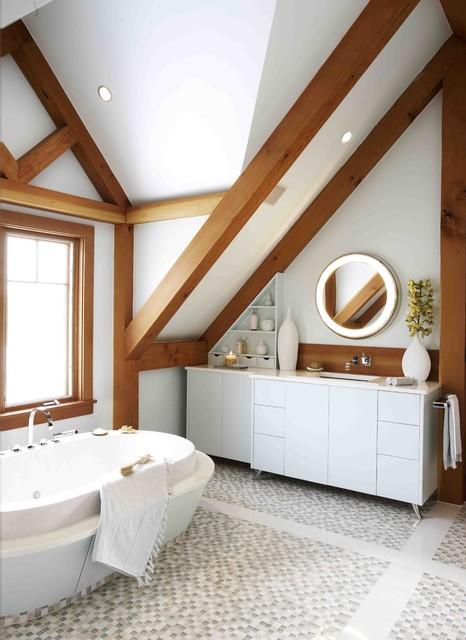 Vaulted Hamptons Blend Bathroom Modern Bathroom By
