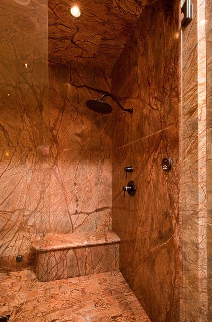Vaulted Steam Shower rustic-bathroom