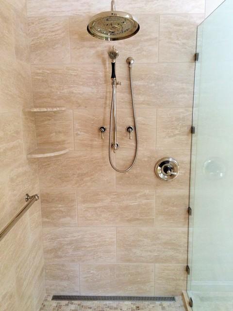 Vein Cut Beige Tile Shower Wall
