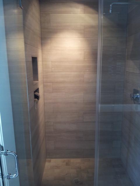 Vein Cut Stone Master Bathroom Contemporary Bathroom