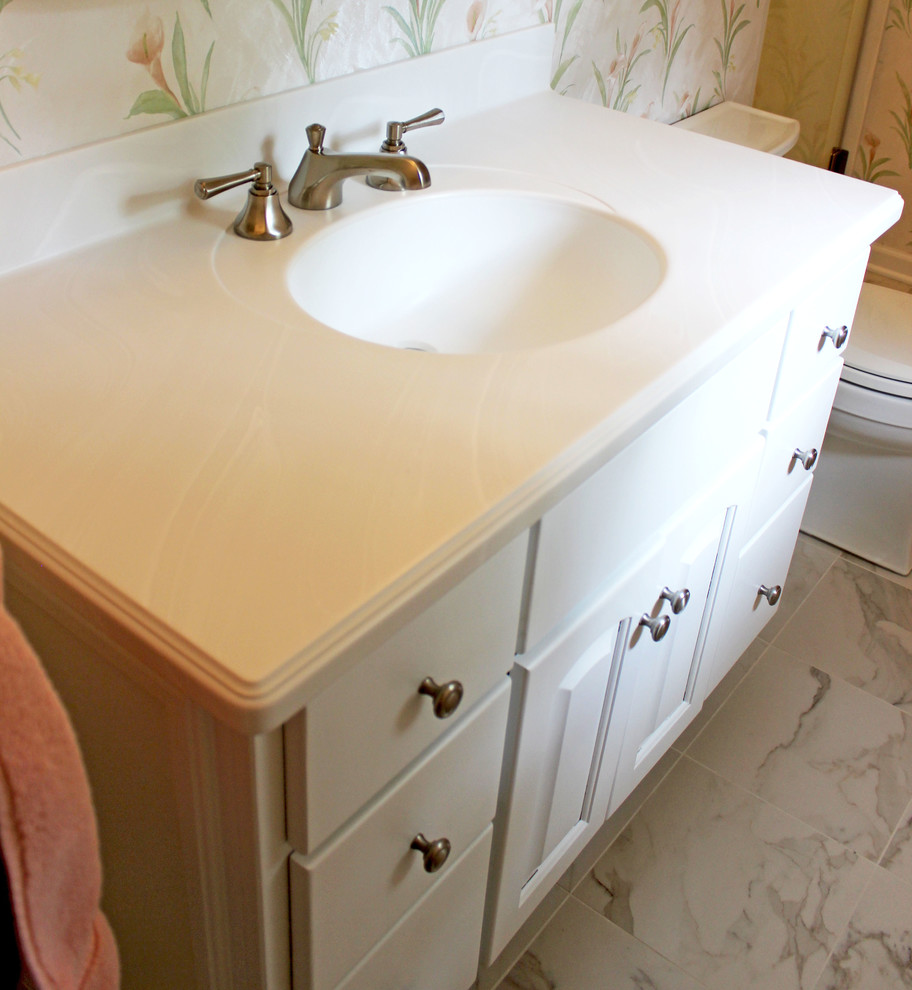 Venaro White Corian Countertop Shower With Bathroom Update Akron Oh Traditional Bathroom Cleveland By Cabinet S Top Houzz