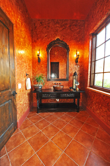 venetian plaster and antique vanity mediterranean-bathroom