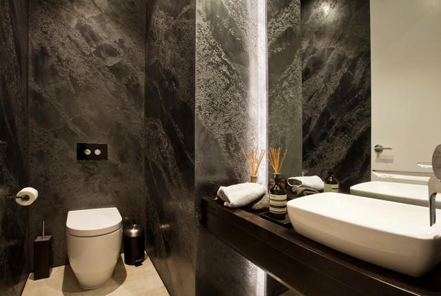 Venetian plaster istinto product pietra spaccata bathroom modern badezimmer melbourne - Stucco veneziano in bagno ...