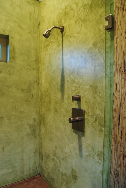Venetian plaster shower contemporary bathroom los for Venetian plaster bathroom ideas