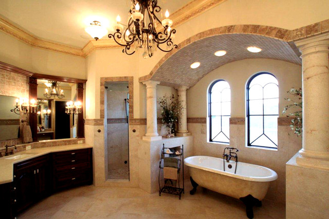 Large Tuscan Master Multicolored Tile And Cement Marble Floor Bathroom Photo In Tampa With Furniture