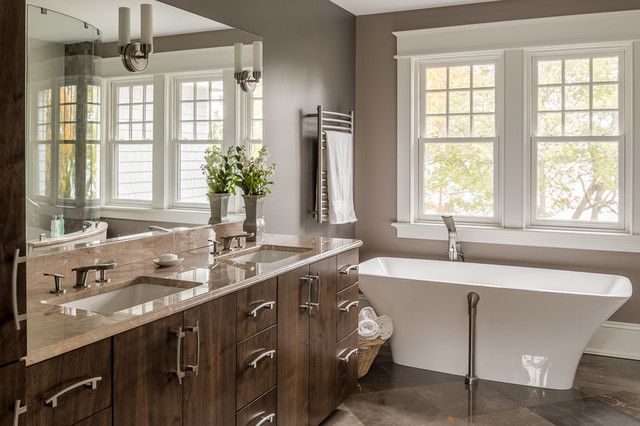 Venti Di Mari Transitional Bathroom Portland Maine By Maguire Construction Inc