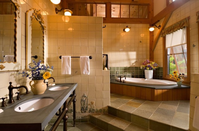 Vermont Timber Frame Residence Traditional Bathroom