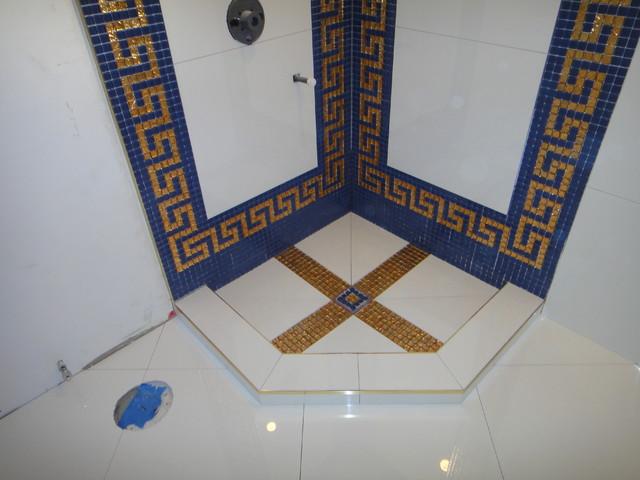 Versace bathroom by our genius tile installer for Carrelage versace