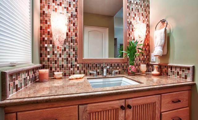 Versailles Mosaic Tile Bathroom Backsplash - traditional