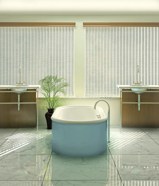Vertical Blinds Contemporary Bathroom Detroit By