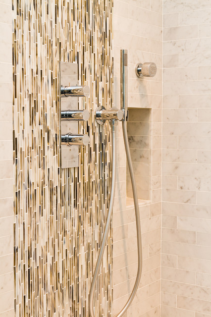 Vertical Shower Tile eclectic bathroom