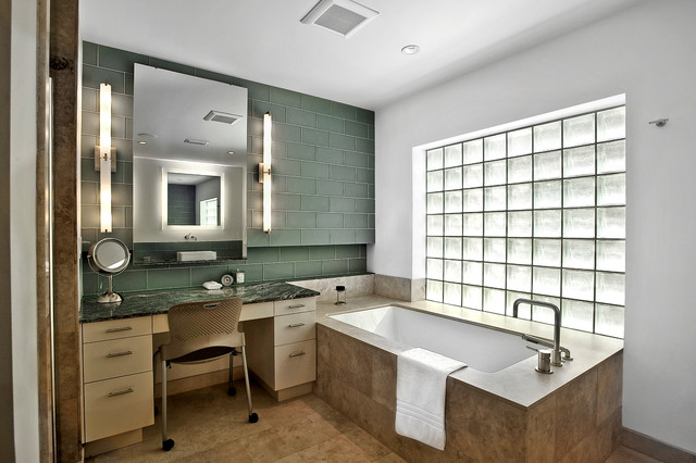 Vertical Vanity Lights Contemporary Bathroom