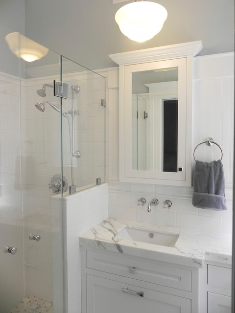 Very small master bath conversion from 1 2 bath for Small bathroom design houzz