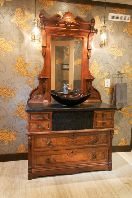 Vessel Sink Turns This Antique Dresser Into A Vanity Mediterranean Bathroom By Denise