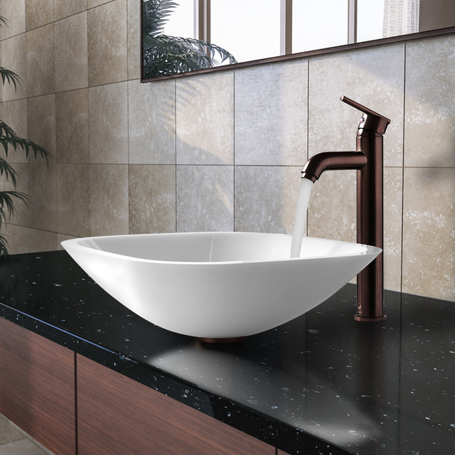 Vgt206 Square Shaped White Phoenix Stone Vessel Sink W