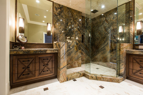 What is the name of the stone for the shower walls?