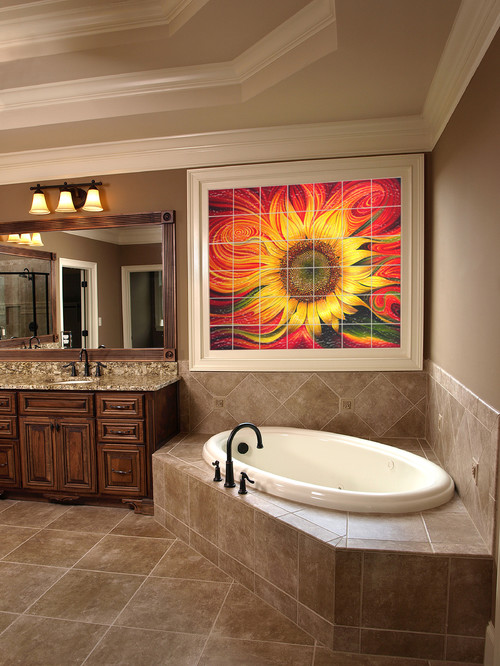 Vibrant Sunflower Glass Tile Mural Above Soaking Tub