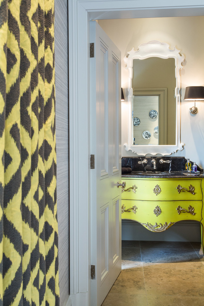 Example of a large ornate master marble floor bathroom design in Cheshire with furniture-like cabinets and green cabinets