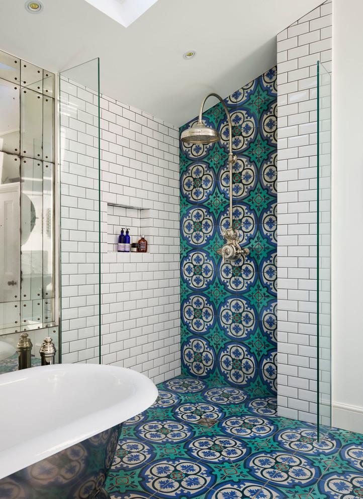 Ornate master multicolored tile turquoise floor bathroom photo in London