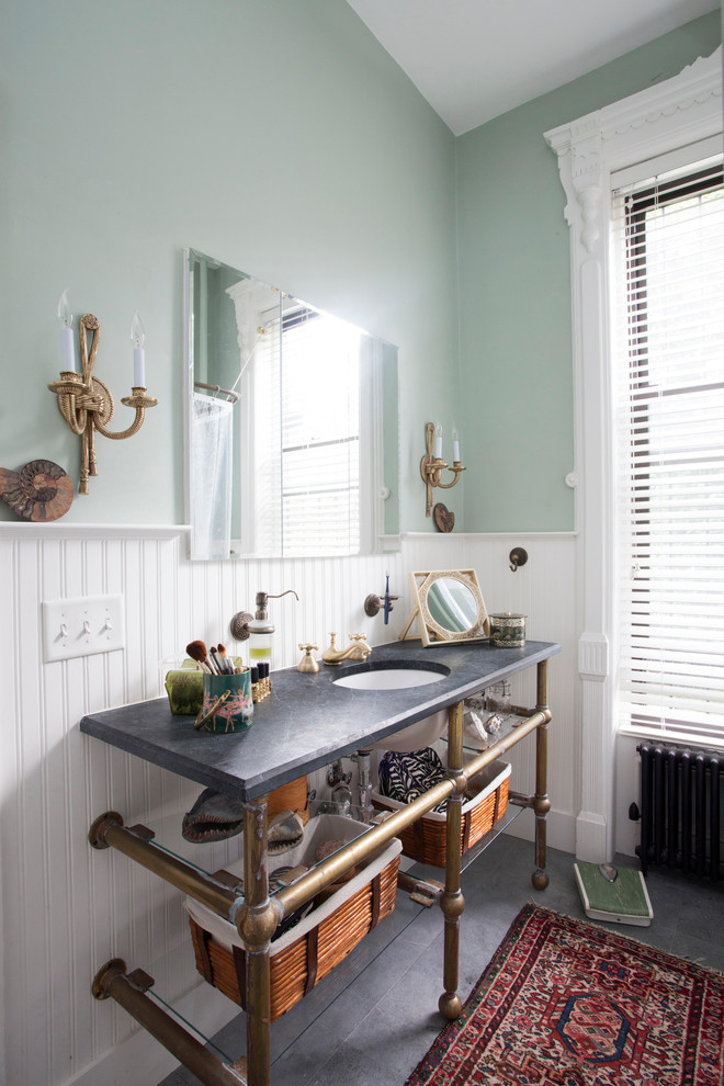 Inspiration for a victorian gray tile and stone tile tub/shower combo remodel in New York with an undermount sink, a two-piece toilet, open cabinets and soapstone countertops
