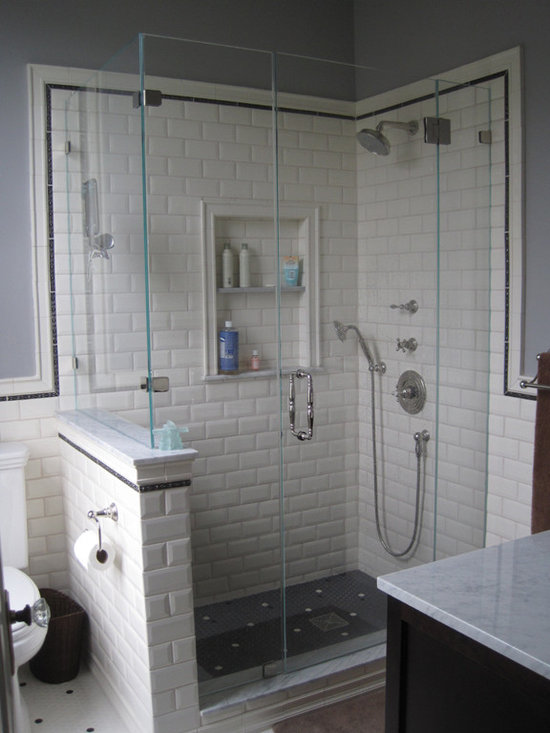 Beveled subway tile bathroom design ideas pictures for Houzz com bathroom tile