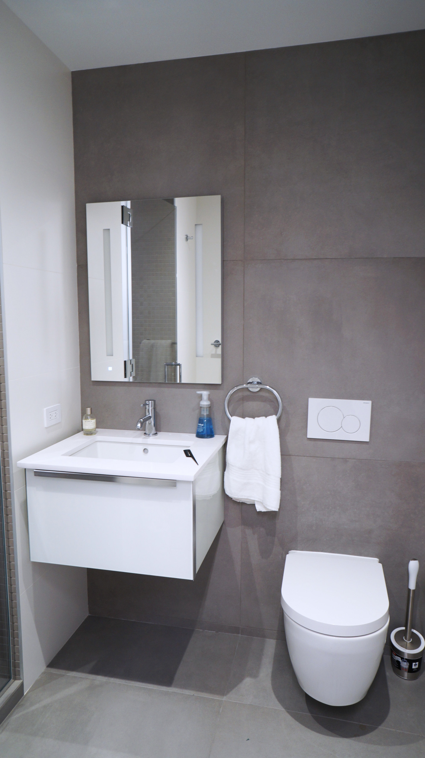 VIEW - Master Bathroom with Large Format Wall Tile