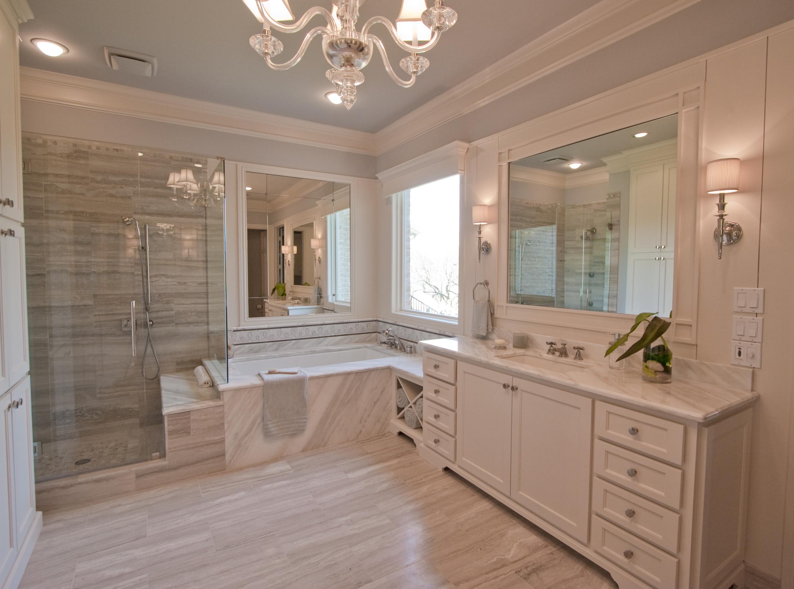 View of shower, tub & vanity
