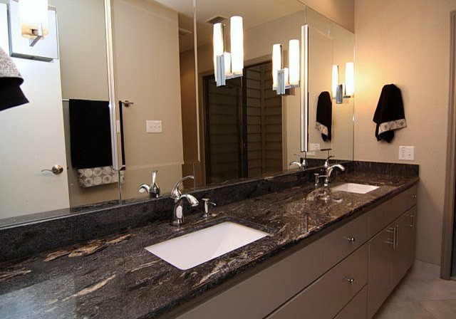 Viking black granite countertop contemporary bathroom - Black marble bathroom countertops ...